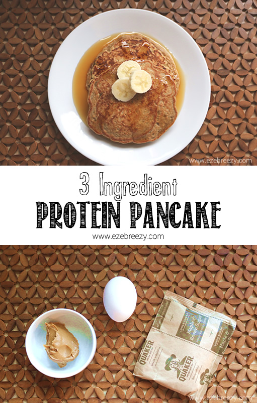 Easy 3 ingredient protein pancakes! Protein packed with 14 grams of protein per pancake. The perfect grab and go breakfast for the whole family.