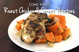 one pan roast chicken and sweet potatoes
