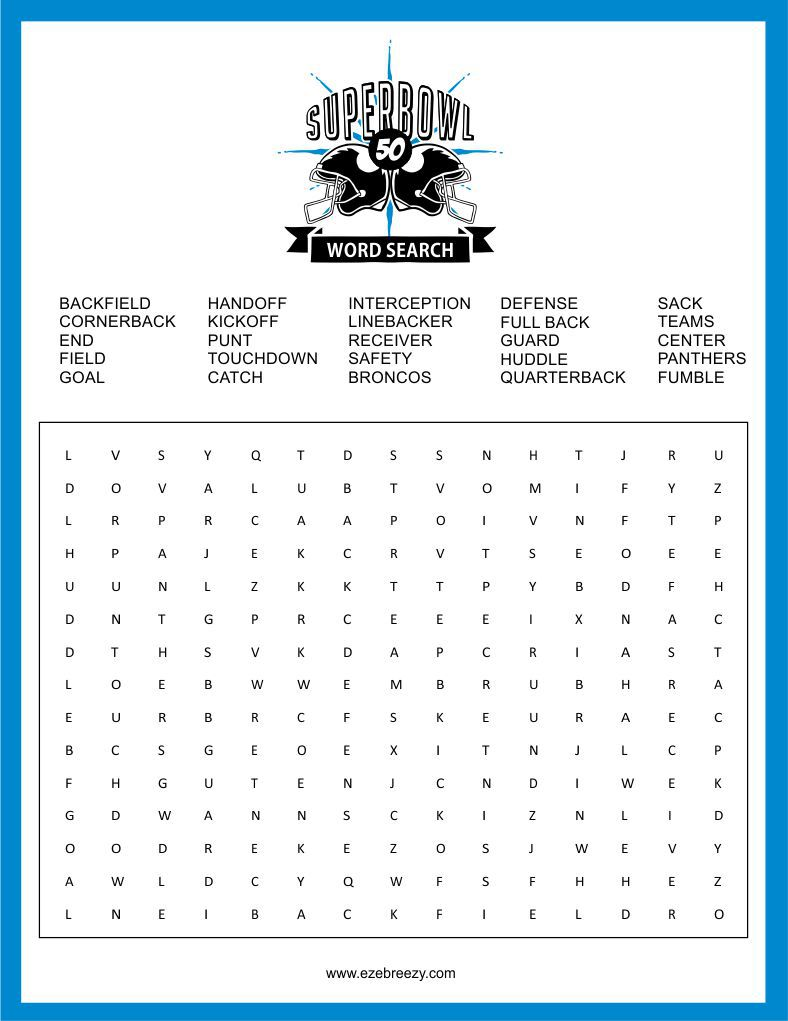 Super Bowl Word Search Printable