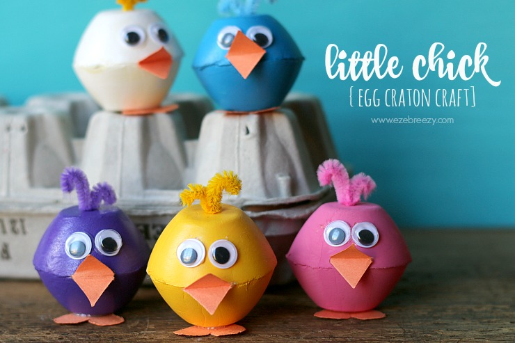 little chick egg carton craft slider