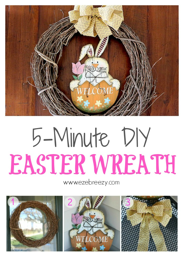Make this easy DIY Easter Wreath in less than 5 minutes with 3 simple things!