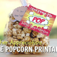 Popcorn Teacher Appreciation Gift & Free Printable Tag