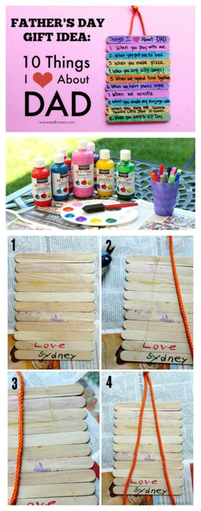 FATHER'S DAY GIT IDEA: 10 Things I Love About Dad. The perfect homemade gift from the heart. Easy & fun to make.
