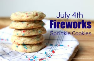July 4th Fireworks Sprinkle Cookies | Recipe | Super easy and fast to make because they are made with vanilla cake mix. The perfect celebration cookie for the 4th of July!