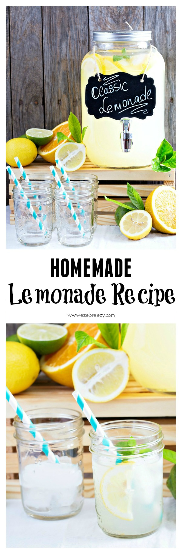 EASY 3-INGREDIENT Homemade Lemonade Recipe...This cool, refreshing lemonade is the ultimate summer drink for the whole family to enjoy on a hot days of summer.