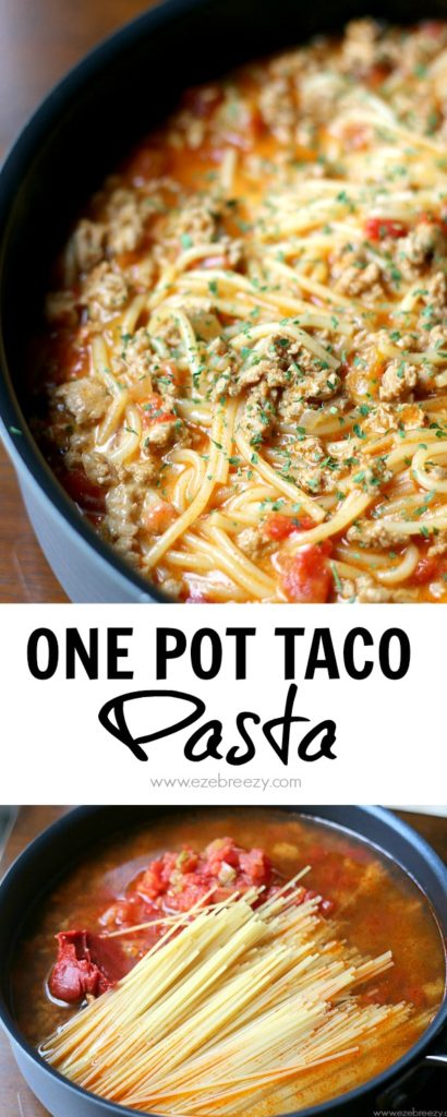 This One Pot Taco Pasta recipe is so easy to make and even easier to clean up! All the flavor of a taco in one single pan. This recipe will quickly become a family favorite for dinner.