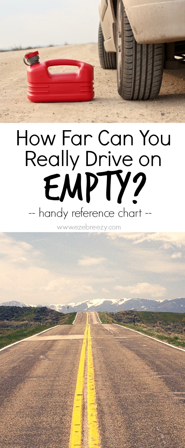 DRIVING ON EMPTY - Ever wonder how far you can drive you car once the fuel light comes on? Find your car on this handy reference chart to find out! Great to know for family vacation, road trips with friends or just for driving around town | www.ezebreezy.com