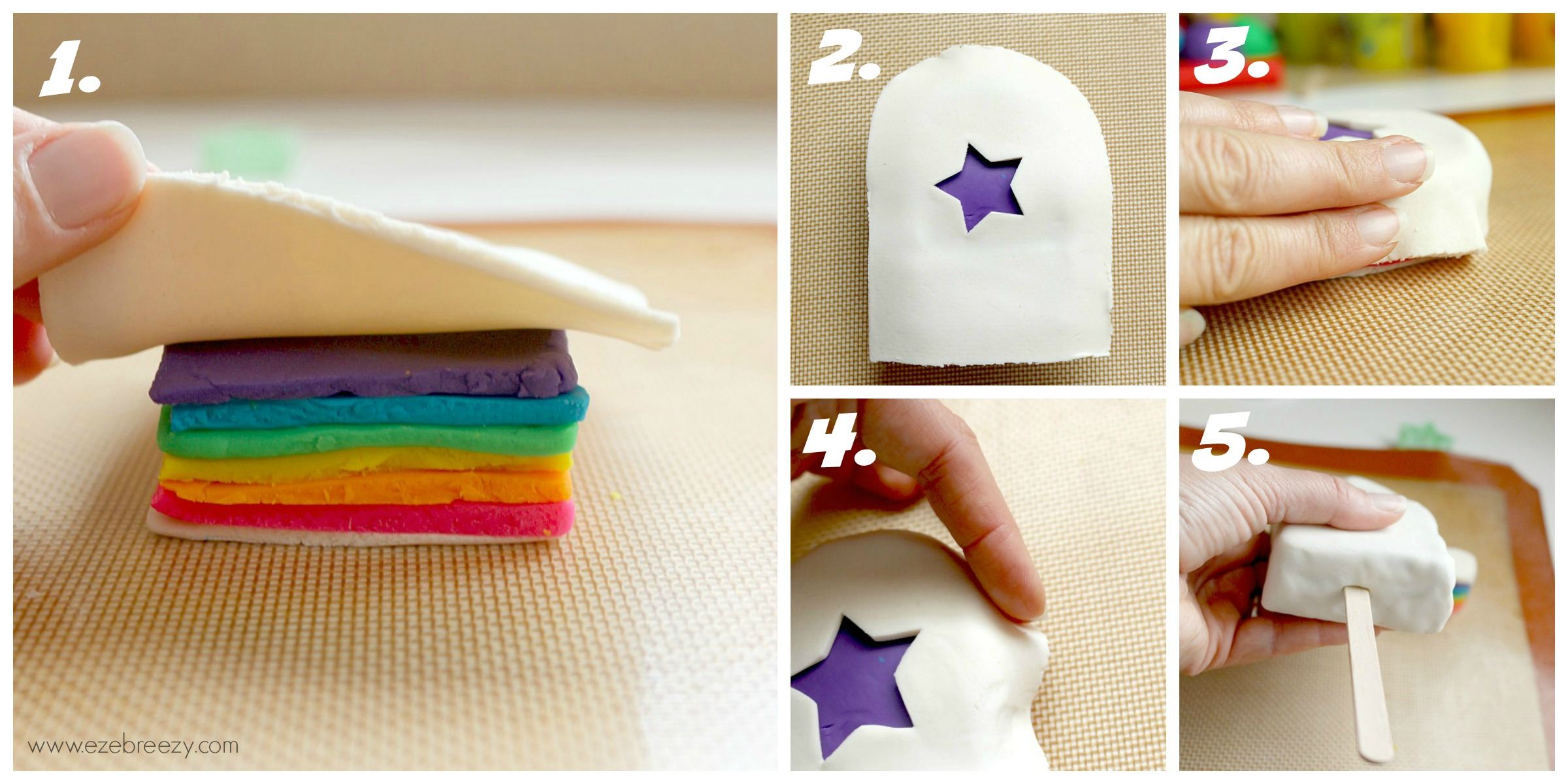 PLAY DOUGH POPSICLE - The perfect play dough activity for kids! Use different color play dough, add fun decorations to the outside....The popsicle possibilities are endless! | www.ezebreezy.com
