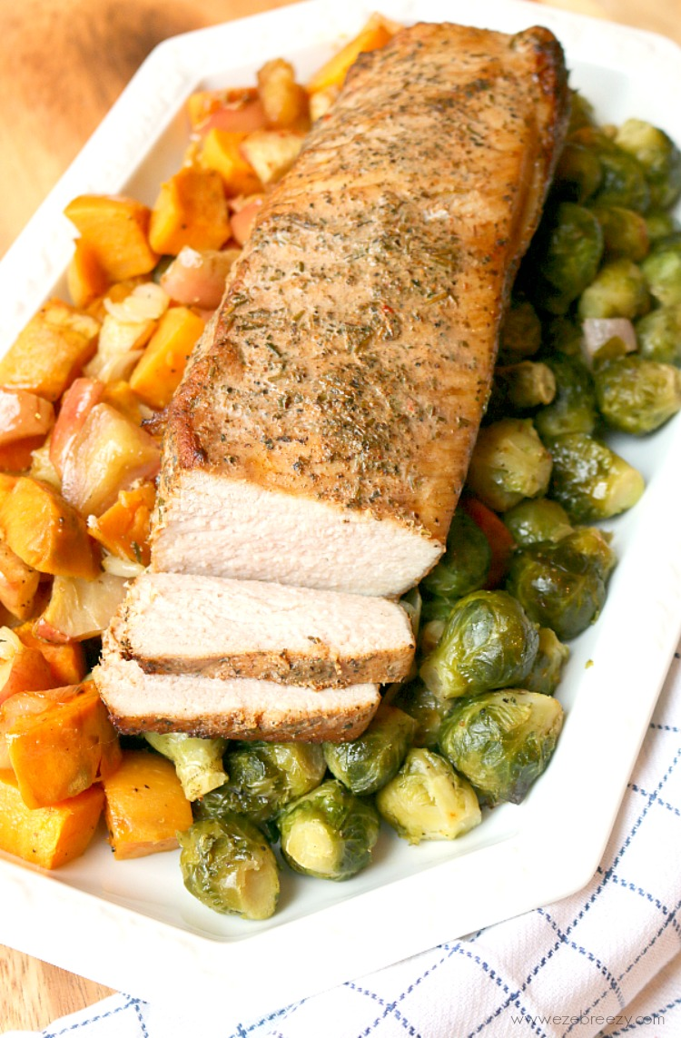One Pan Pork Tenderloin - Make dinner time easy with this tender, juicy marinated roasted pork with seasonal vegetables. On the table in under 30 minutes! #RealFlavorRealFast #IC (ad)
