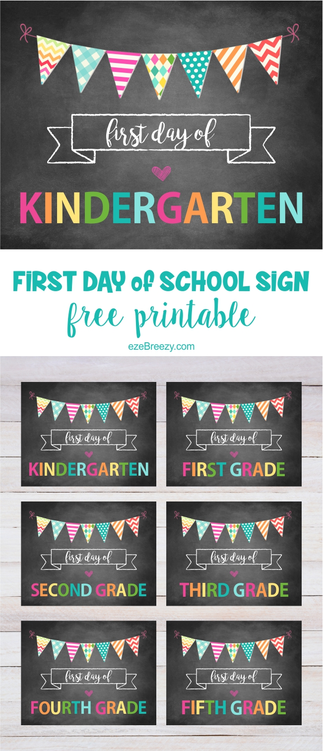 image about First Day of School Printable known as Initially Working day Of College or university Signal Printable