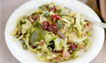 Pan-Fried Brussels Sprouts with Cranberries and Bacon