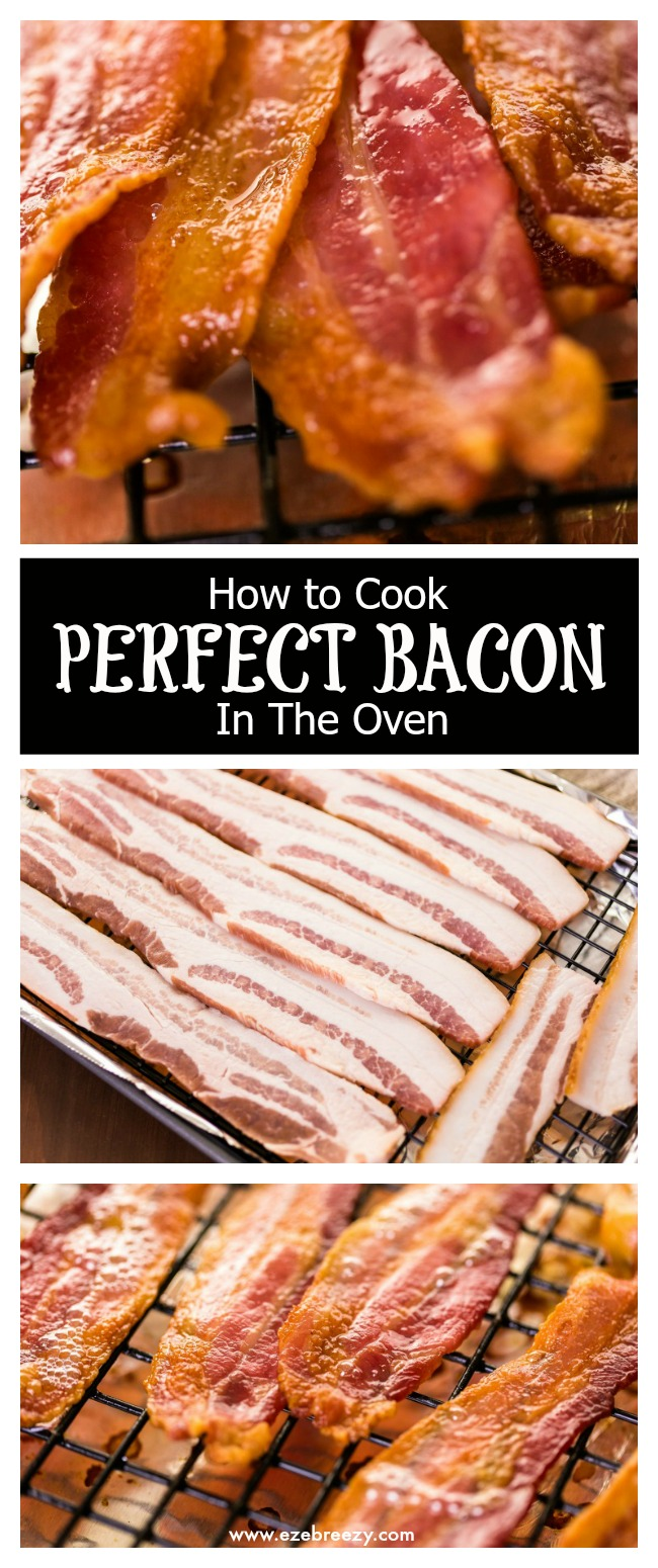 BEST way to cook perfect bacon is in the oven. Crisp & golden brown - oven baked bacon is the way to go. Practically mess-free and ready in under 20 minutes | www.ezebreezy.com | #bacon #perfectbacon #recipe